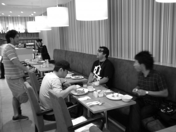 Dai joins in the group for bfast